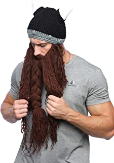 Mens Viking Barbarian Beard Beanie Funny Pillager Looter Horned Hats