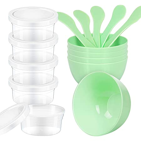 LEOBRO DIY Slime Making Tools, 5pcs Glue Mixing Bowls, 5pcs Glue Mixing Spoons, 5pcs 4.5 oz Slime Containers for Kids Slime Making Art
