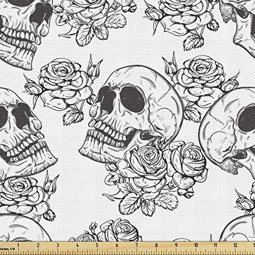 Lunarable Skull Fabric by The Yard, Blooms Retro Style Otherworld Textured Western Style Celtic Halloween Horror, Decorative Fabric for Upholstery and Home Accents, 1 Yard, Charcoal Grey