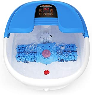 Foot Spa/Bath Massager with Bubbles and Lights, Arealer Foot Bath Massager with Automatic Massaging Rollers, Relieve Foot Pressure with 6 in 1 Function