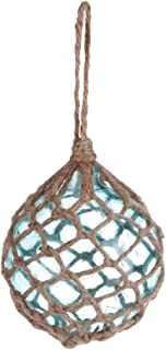 DEMDACO Net Wrapped Ball Natural Brown 5 x 4 Glass and Jute String Christmas Ornament