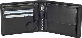 محفظة جلدية للرجال كاملة الحجم من DiLoro Italy محفظة نقود بسحاب لبطاقة الهوية الشخصية مع حماية RFID, , أسود - 1808-BK