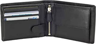 Italy Full Size Mens Leather Wallet Bifold Flip ID Zip Coin Wallets with RFID Protection