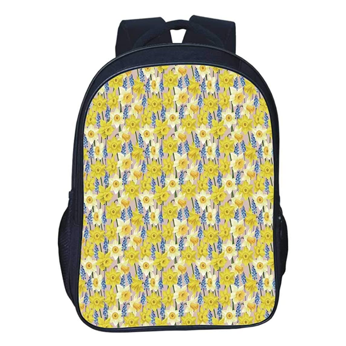 Daffodil Decor Durable Double black backpack,Floral Theme Daffodil and Muscari Blossoming Stems Branches Classic Flourish Artwork For classroom,11.8