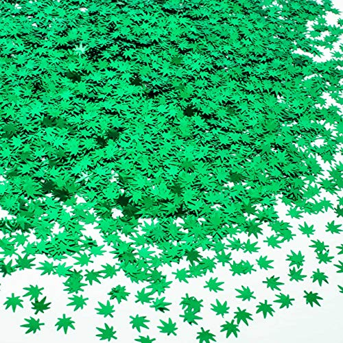 22g Chunky Glitter Leaf Sequin Beauty Festival Body Art Decoration Makeup Face Body Nail Body Glitter Suitable for face, arm, Hair, Nail Polish or Holiday Celebration, Party Decoration (Green Leaf)