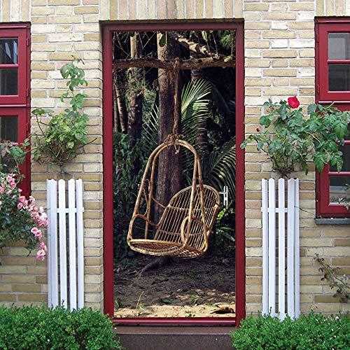 3D deur muursticker deur voor woonkamer 77x200Cm schommelstoel ideeën kinderen baby kinderen verwijderbare vinyl zelfklevende muursticker kunst huisdecoratie 95x215cm