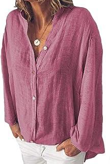 MK988 Women Casual V Neck Solid Color Buttons Plus Size Cotton Linen Loose Shirt Blouse Top