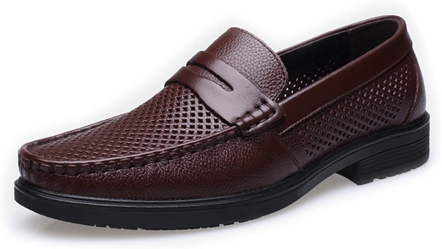 CHENXD shoes, Men's Classic Genuine Cowhide Leather shoes Breathable Perforation Slip-on Flat Soft Sole Lined Loafer