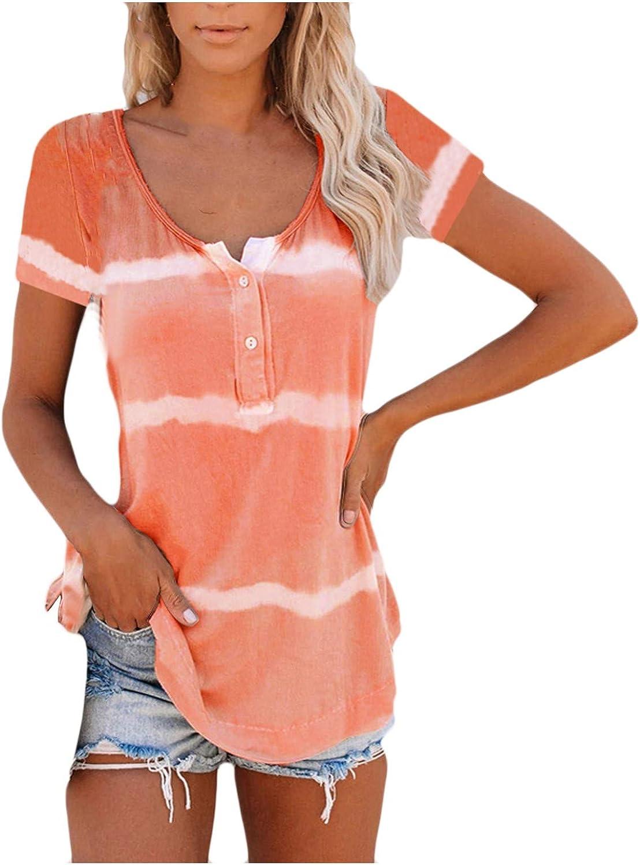 SKOLL Henley Tank Jacksonville Mall Tops for Women Surprise price Striped Tshirt Graphi Neck Crew