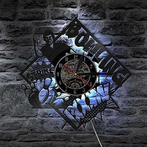 ZYBBYW Bowling Alley Decoración Bowling Club Reloj de Pared Bowling Retro Disco de Vinilo Reloj de Pared Regalo para los Amantes de los Bolos