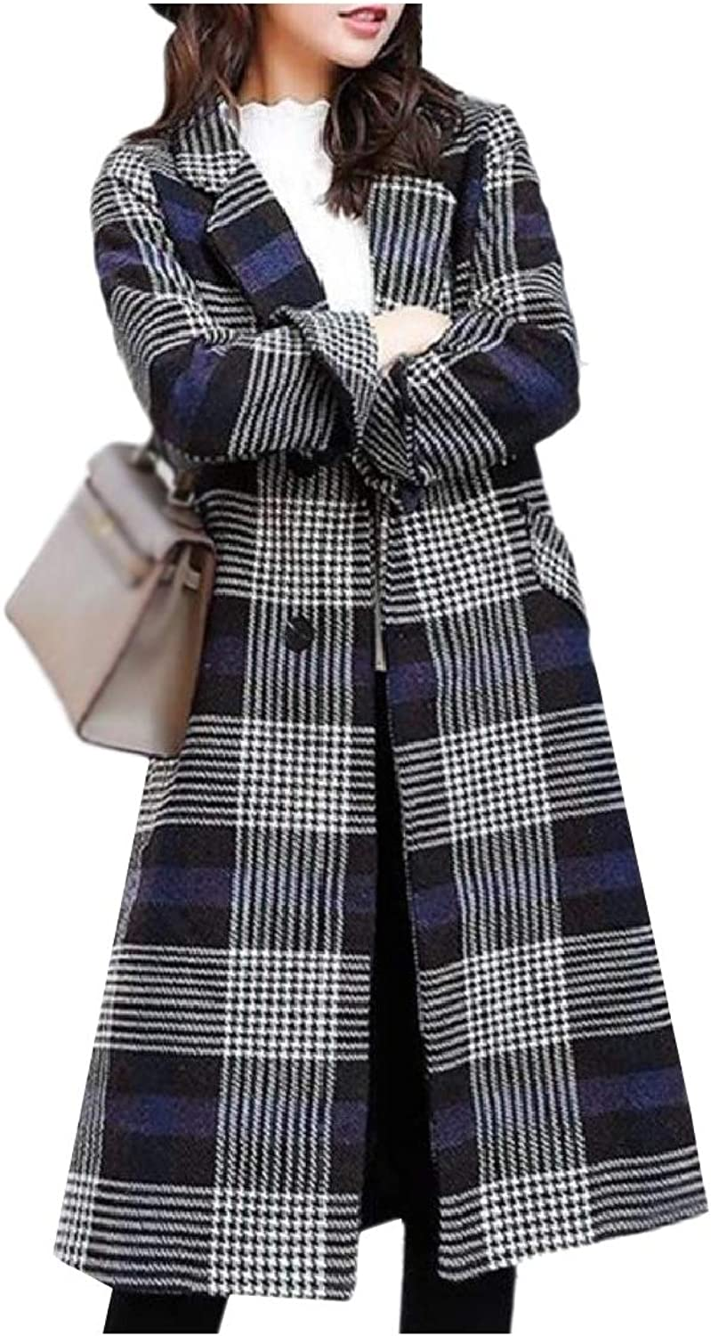 Doanpa Women's Belted Wool Blends Plaid Overcoat Trench Coat Parka Jacket