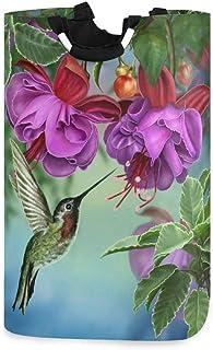 N\A Panier à Linge Colibri Fleur orchidée Panier à Linge Pliable Grand Sac de Rangement, Sac de vêtements Organisateur Pli...