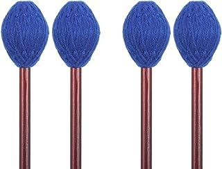 Buytra 2 Pairs Medium Hard Yarn Head Keyboard Marimba Mallets with Maple Handle, Blue