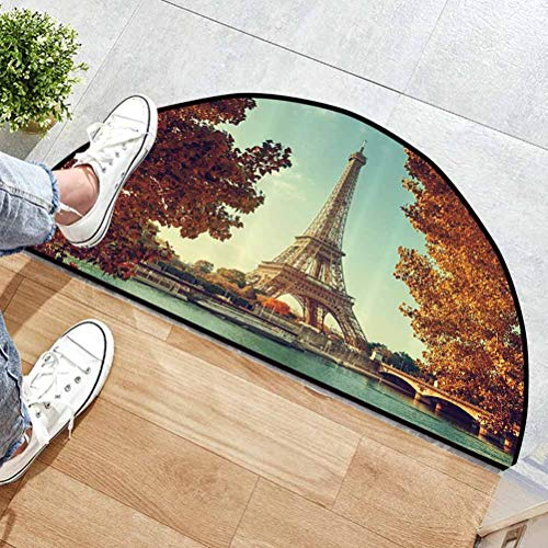 31' L x 19' W Eiffel Tower Decor Collection Traditional Half-Round Rug Non-Slip Seine in Paris with Eiffel Tower in Autumn Time Golden Leaves Bridge Romantic Scene Blue Ivory