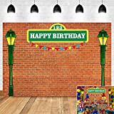 Brick Wall Street Themed Photography Backdrop Kids Happy Birthday Party Decoration Photo Background Banner for Baby Shower Supplies Sesame Street Photo Booth Studio Pros Vinyl 5x3ft