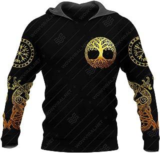 Serired 3D Printed Men's Viking Pullover Hoodie, Men/Women Norse Mythology Tree of Life Fenrir Tattoo Fashion Long Sleeve ...