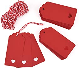 Zealor 100 Pieces Red Kraft Paper Gift Tags with String for Valentine's Day Wedding Party