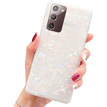 """J.west Galaxy Note 20 Case 5G 6.7"""", Opal Luxury Sparkle Glitter Pearly-Lustre Pattern Translucent Clear Sturdy Slim Soft TPU Silicone Cover Protective Phone Case for Girls Women (Colorful)"""