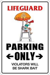 456Yedda Metal Sign Lifeguard Parking Only Decor Novelty Art Sign Funny Aluminum Metal Tin Signs 12