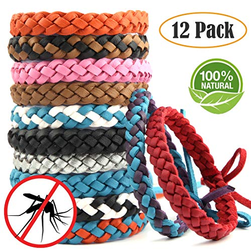 ARINO Mosquito Bands Mosquito Repellent Bracelets 12 Pack, Premium Quality, DEET-Free Natural Wristbands, Waterproof Bug, Protection Insects up to 200 Hours, Pest Control for Babies Kids Adults