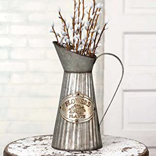 CTW 770006 Vintage Inspired Decorative Tall Pitcher With Handle For Artificial Dried Flowers or Kitchen Utensils, Tapered Galvanized Metal, Rustic Farmhouse Style Home Decor, Gray and Brown