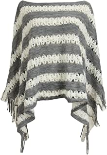LvRao Elegant Crochet Knit Beaded Poncho Cape Sexy Cover-Ups Batwing Pullover Tops with Fringed Hem for Women