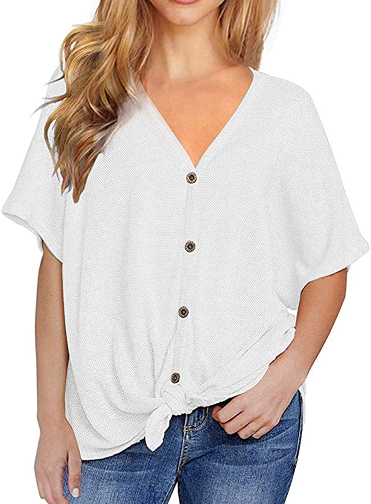 Fronage Womens V Neck Long Sleeve Shirts Casual Waffle Knit Tops Soft Loose Blouses
