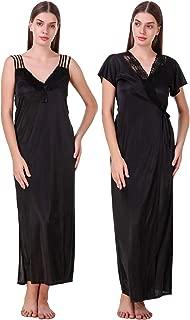 Women's Satin Nightwear 2 Pc Set Of Nighty & Wrap Gown