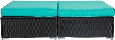 Kinbor 2 Piece Patio All Weather Wicker Ottoman Set with Cushion, Tiffany Blue