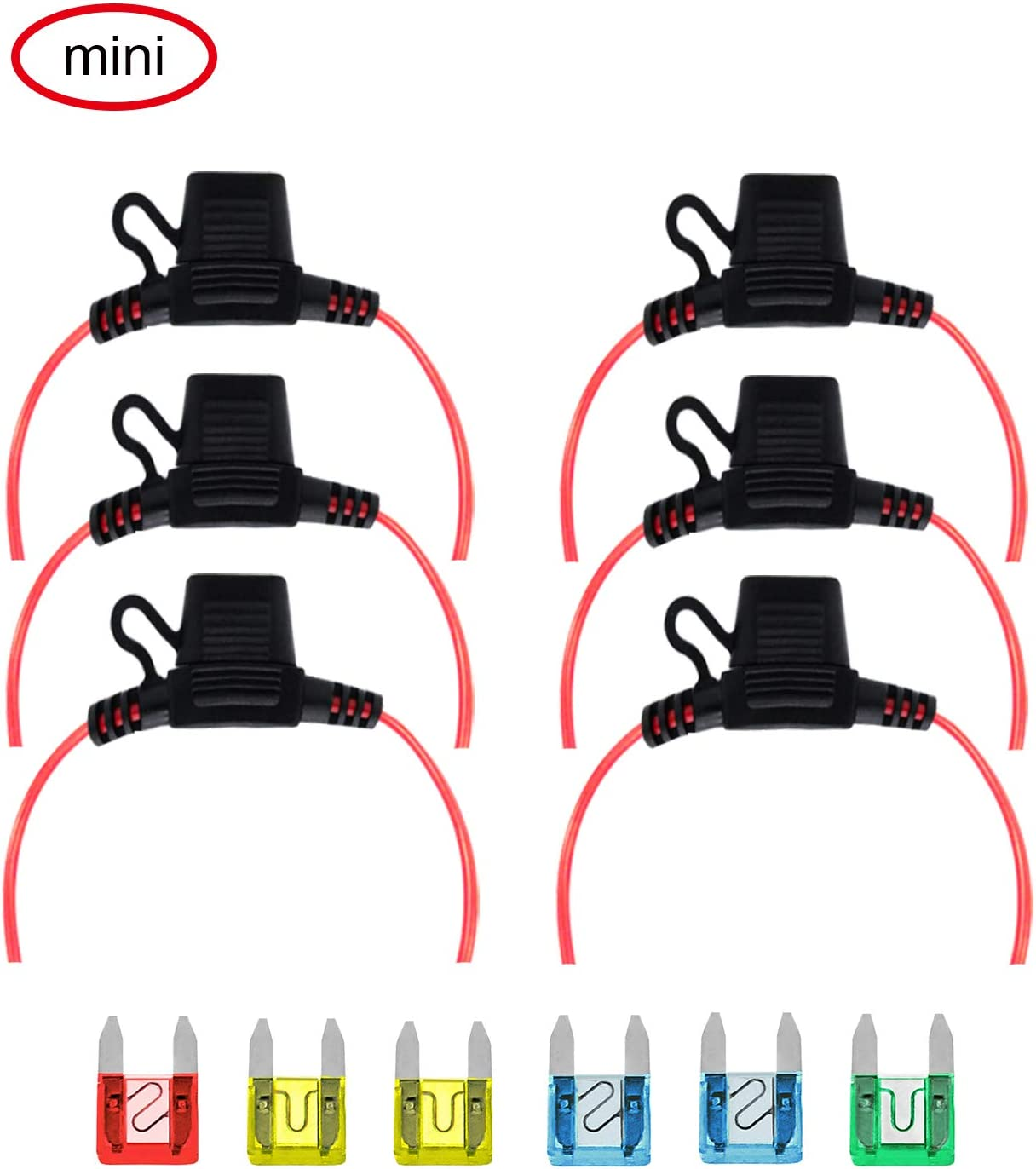 15A VANTRONIK IP65 Waterproof Inline Standard Car Blade Fuse Holder with 14 AWG Gauge Wire 30 cm for ATO//ATC Standard Size Auto Blade Fuse 6 Pack and 10A 20A 30A Standard Fuse 25A