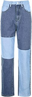 UANOU Gris Patchwork Mujer Suelta Madre Jeans Bolsillo de Cintura Alta Pierna Ancha Novio Moda clásica Streetwear Y2 K Pan...