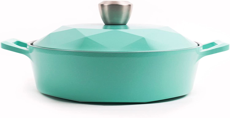 Neoflam Carat 2QT Ceramic Nonstick Low Stockpot, Fresh Green