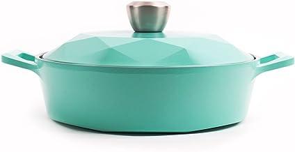 Neoflam Carat Ceramic Nonstick Low Stockpot, Blue, 2QT, 52903
