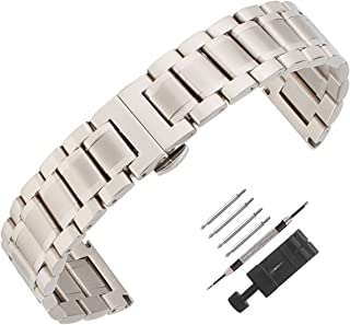 Weelovee Double Buckle Clasp Stainless Steel Bracelet Watch Band for Mens Women Strap Wristband Replacement 14mm to 24mm Straight End Black