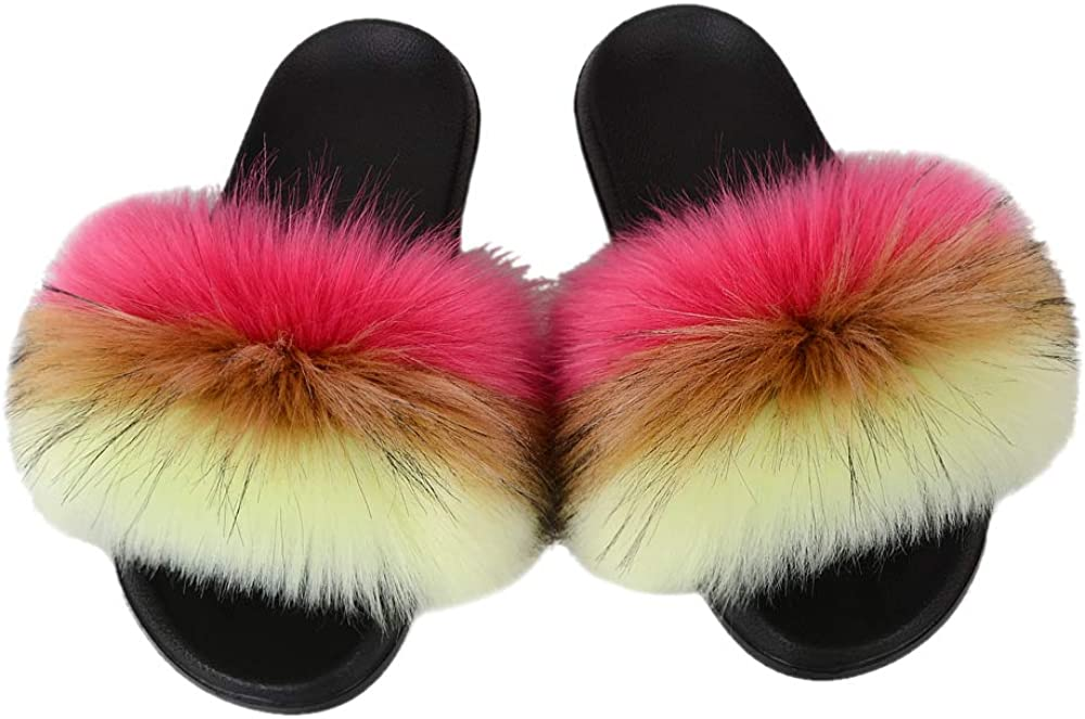 67% OFF of fixed price Women's Summer Open Toe Faux Sandals Slides Fur Non-Sli Low price Slippers