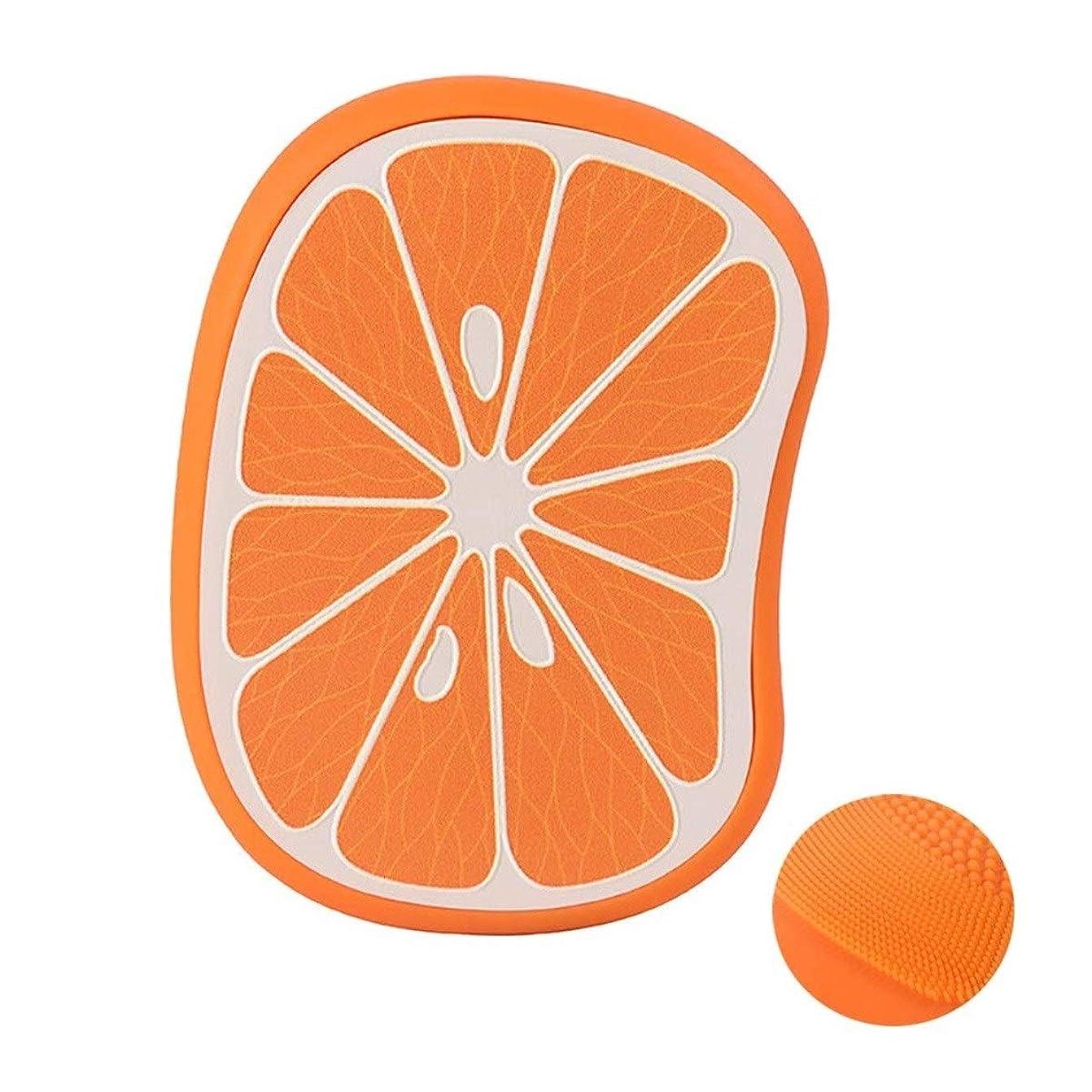 データベース静けさきしむ化粧用品 クレンジングブラシ美容機器ミニコンパクトフルーツシリコーンクレンジング器超音波毛穴クリーナー洗浄器 (Color : Orange)