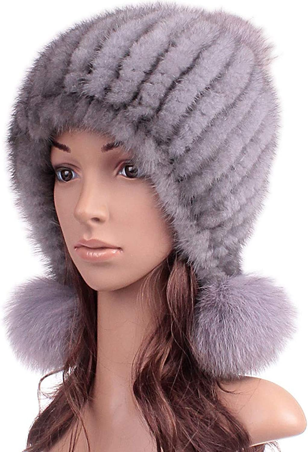 ClimbUp Womens Mink Fur Knit Hat with Earflap Winter Hats Beanie Winter Skull Cap