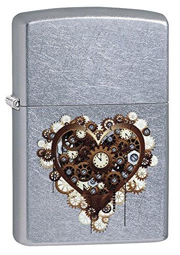Zippo Steampunk Heart Accendino a Benzina, Ottone, Effetto Acciaio, 1 x 6 x 6 cm