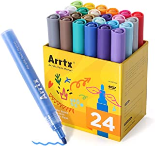 Arrtx Acrylic Paint Pens, 24 Colors Paint Markers for Canvas, Glass, Rock Painting, Stone, Fabric, Mugs, Ceramics, Wood, Gift Card Making, DIY Craft, Highly Pigmented