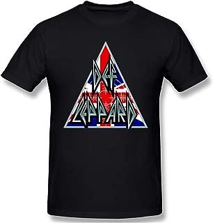 Def Leppard Union Jack Hysteria Man T-Shirt Crew Neck Short Sleeve Tee Top Black