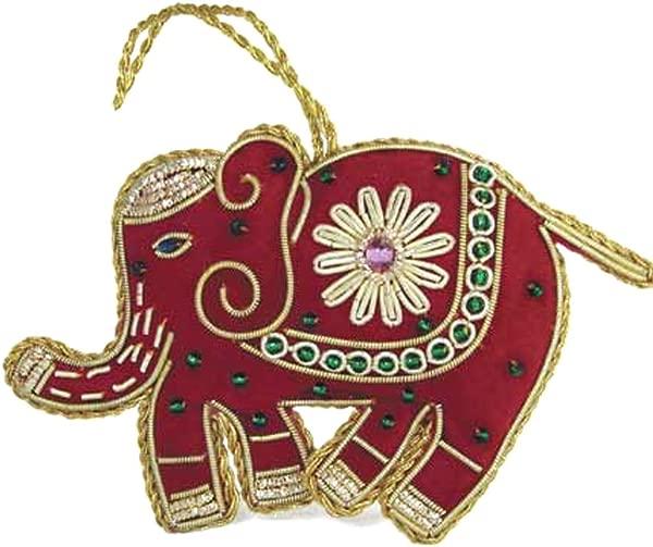 Heirloom Quality Hand Beaded Red Elephant Ornament Fair Trade