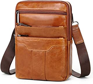 "Leather Crossbody Bags for Men,Travel Shoulder Bag,Mens Cross Body,Messenger Satchel Boasts Brass Hardware,9.7""iPad Pocket"