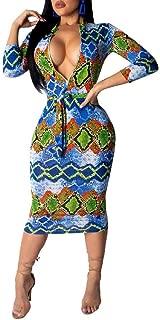 Howely Women V-Neck Zip Up Empire Waist 2/3 Sleeve Stretch Pencil Sheath Dresses