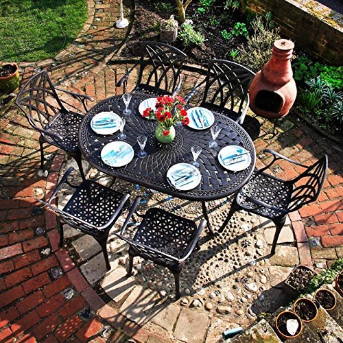 Lazy Susan June 6 Seater Oval Sand-cast Aluminium Garden Furniture Set, Maintenance-free, Weatherproof, Antique Bronze Finish, Matching April Chairs, April Bench | Cushions Not Included