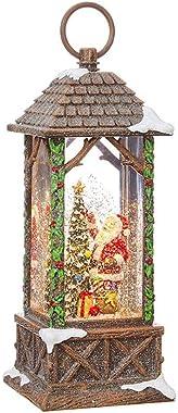 RAZ Imports Santa Decorating Tree Lighted Water Lantern Lighted Christmas Snow Globe with Swirling Glitter