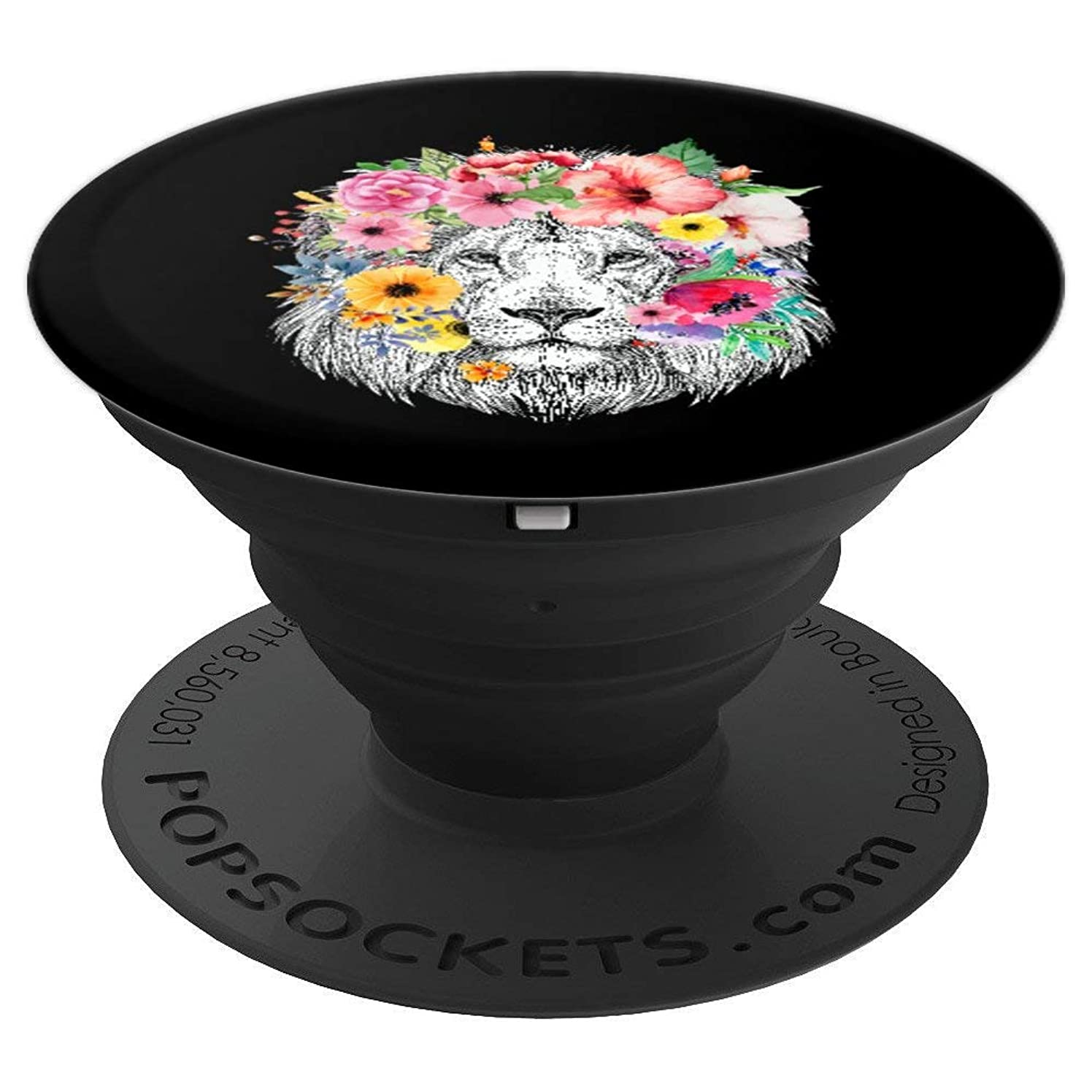Lions Mane with Flowers - Colorful Floral African Lion Black - PopSockets Grip and Stand for Phones and Tablets
