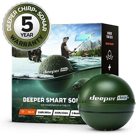 Sonda inteligente CHIRP + más profunda: portátil, portátil, GPS Fish Finder y buscador de profundidad, en tierra o en alta mar, agua dulce o salada