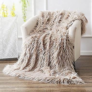 Ojia Super Soft Fuzzy Shaggy Mongolian Lamb Throw Blanket Plush Warm Fluffy Cozy Elegant Long Faux Fur Blanket Bedding Cover Chic Decorative For Bedroom Sofa Floor(50 x 60 Inch, Light Coffee)