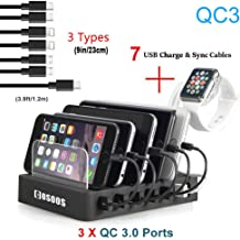 Charging Station for Multiple Devices,75W Fastest COSOOS USB Charging Station with 3X QC3, 7 Phone Charger Cables(3 Type),iWatch Stand,6-Port USB Charger Station for Samsung,Kindle