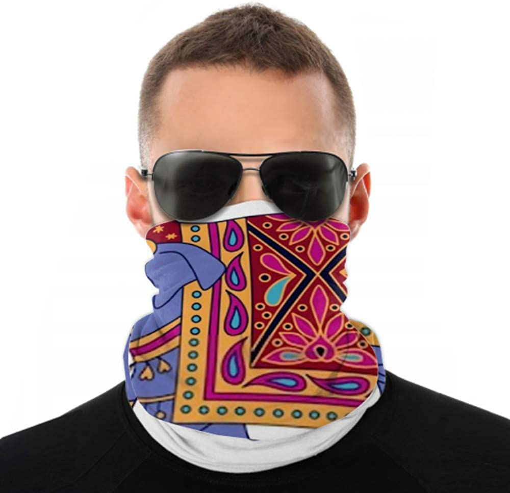 Headbands For Men Women Neck Gaiter, Face Mask, Headband, Scarf Blue Indian Elephant Decorated Traditional Style Turban Multi Scarf Double Sided Print Neck Gaiter Face Mask For Sport Outdoor